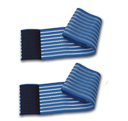 2 fasce elastiche blu universali regolazione a strappo lunghezza 80Cm per elettrodi elettrostimolazione ionoforesi