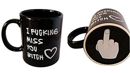 Vansaile Best Friends Long Distance Friendship I FUCKING Miss YOU Bitch Coffee Mug or Tea Cup - 12 ounces (Black)