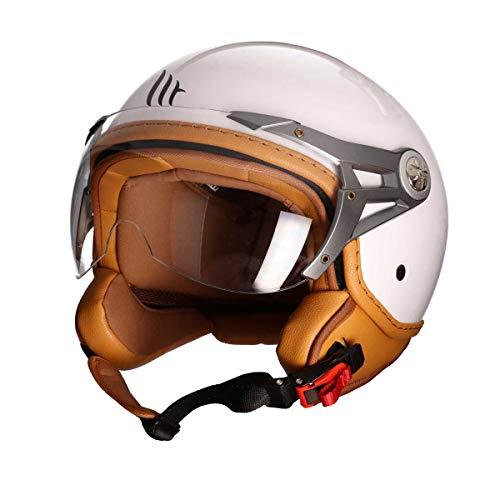 MT Soul Jet-Helm Motorrad-Helm Roller-Helm Scooter-Helm Bobber Mofa-Helm Chopper Retro Cruiser Vintage Pilot Biker ECE 22.05 (weiß, M)