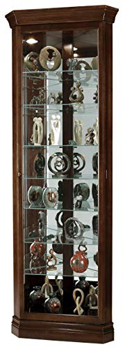 Howard Miller Drake Corner Curio Cabinet 680-483 – Cherry Bordeaux Finish, Seven Glass Shelves,...