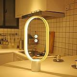 Lámpara LED de mesa de Heng Balance, interruptor magnético de medio aire 2018, lámpara de noche de equilibrio para el cuidado de los ojos, decoración para dormitorio, salón y oficina blanco Blanco
