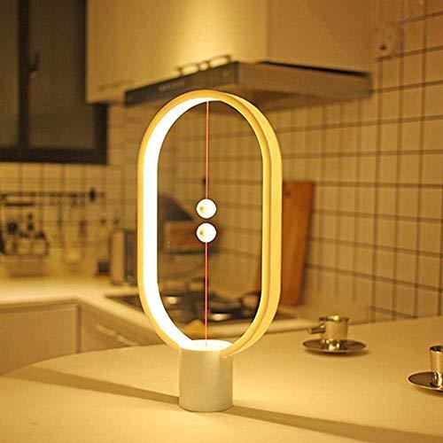 Heng Balance Lamp - Lampe de Table LED Magnétique Interrupteur En l'air, 2018 Équilibré Lampe de Nuit Soin des Yeux [Alimenté par USB] pour Décoration de Chambre à Coucher, Salon et Bureau (Blanc)