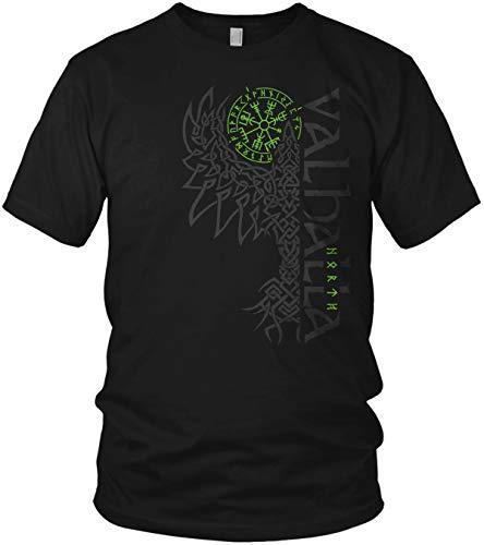North - Rabe Valhalla Vegvisir Wikinger Walhalla Vikings Raven nordischer Kompass - Herren T-Shirt und Männer Tshirt, Größe:L, Farbe:Schwarz/Grün