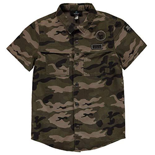 Firetrap Jungen Cargo Shirt Freizeit Hemd Kurzarm Baumwolle Camo AOP 9/10 Jahre