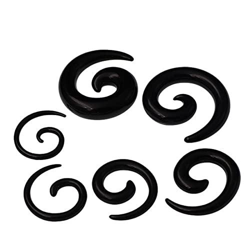 QWERBAM Pendientes de acrílico Espiral tapón de Espiral Tapas de Estiramiento de la joyería del Cuerpo Clips de Oreja Fake oído expansor Plug Tunel Kit (Main Stone Color : 6MM, Metal Color : Black)