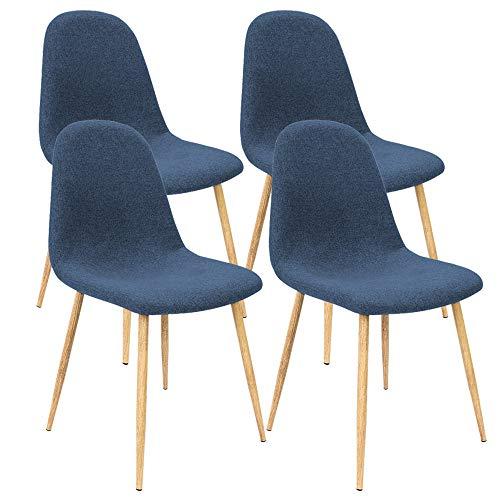 Deuba 4er Set Esszimmerstühle Küchenstühle Polsterstühle Design Bequem Gepolstert 120 kg belastbar Stoff-Bezug Dunkelblau