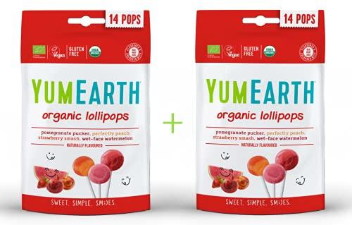 Yumearth - piruletas ecológicas de frutas 4 sabores: granada, sandía, fresa, melocotón - 14 unidades (pack 2 bolsas sabor frutas)