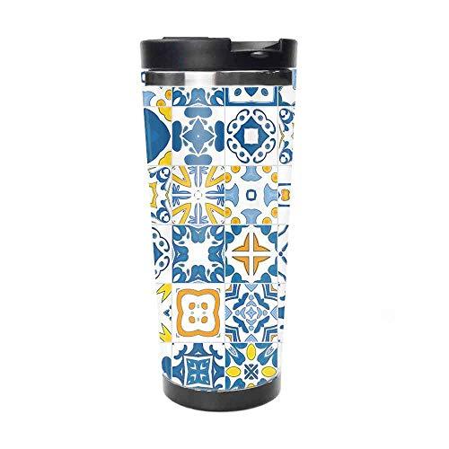 14 Unzen Edelstahl Wasserbecher Mosaik Portugiesisch Azulejo Mediterran Arabesque Effekt Violetter Senf Für den Reisesport