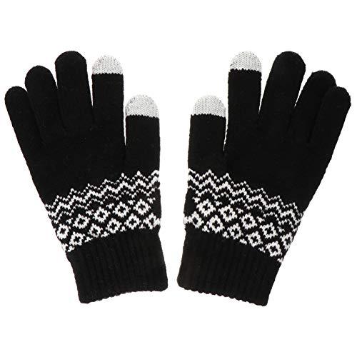Hemobllo 1 Paar Winter Touchscreen Handschuhe Weiche Thermische Winter Strickhandschuhe Elastische SMS Handschuhe Geburtstagsgeschenke (Schwarz)