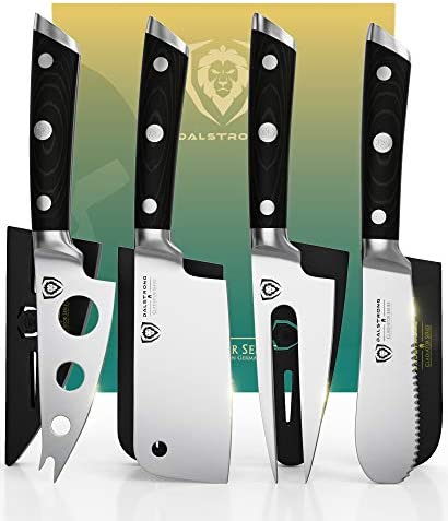 DALSTRONG Charcuterie Cheese Knife Set 4 Piece Gladiator Series Mini Cleaver Serrated Knife product image
