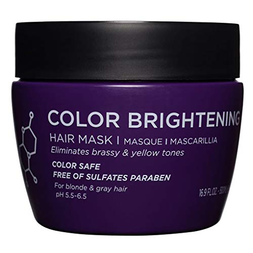 Luseta Color Brightening Hair Mask, Deep Conditioner - Biotin, Hydrolyzed Collagen & Keratin - Neutralizes Unwanted Yellow Tones and Removes Brassine, for Blond and Gray hair, 16.9oz