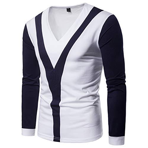 Herren Stitching Farbe Lange Ärmel Freizeit und Mode Shirt(XL,dunkelblau)