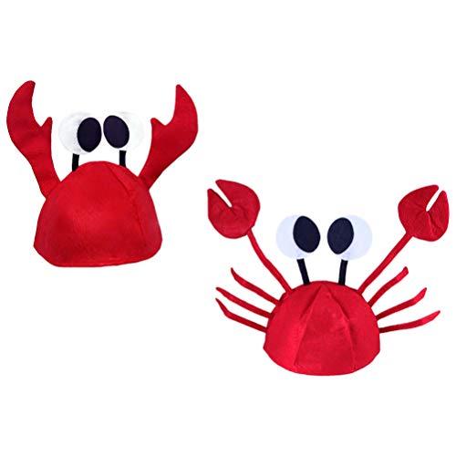 Amosfun Herren Damen Neuheit Hut 3D Hummer Langusten Krabben Meeresfrüchte Hut mit Krallen Verkleiden Neuheit Hut 2Pcs Zufälligen Stil