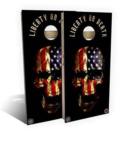 Slick Woody'S Liberty or Death Cornhole Set with 8 Cornhole Bags, Baltic Birch Plywood Tops for The Smoothest Flattest Playing Surface, Retractable Legs and Back Bounce Brace