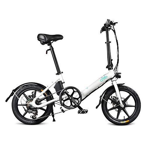 Yestter Fiido D3s 7.8 - Bicicleta eléctrica Plegable con 3 Modos de conducción, diseño de batería Incorporado, Cambio de 6 velocidades para Adaptarse a Diferentes, Blanco, 134/24 / 57cm