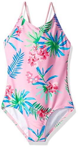 Kanu Surf Girls' Big Chloe Beach Sport 1-Piece Swimsuit, Leonie Floral Pink, 12