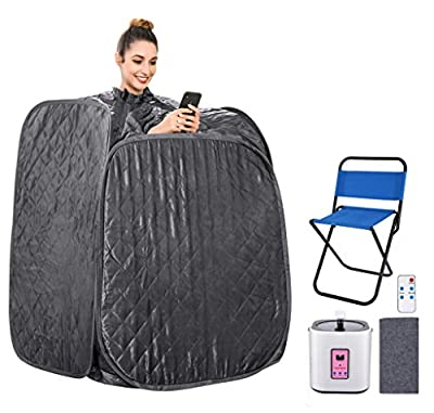 Portable Home 2L Steam Sauna with Remote Control,Indoor Foldable Steam Sauna Tent Spa Pot Loss Weight Detox Relaxation (with Foldable Chair& Timer)