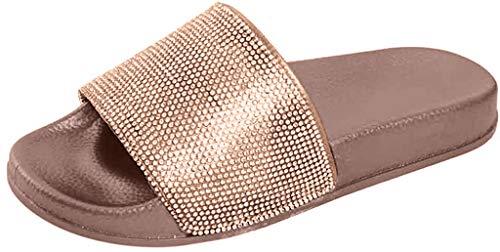 MRULIC Damen Rutschen Sandalen Sparkle Sliders Pailletten Blume Gedrückt Hausschuhe Schuhe Home Flip Flop Slipper(Gold,36 EU)