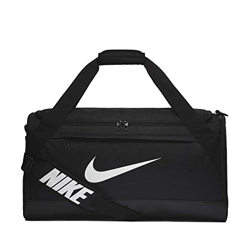 Nike Brasilia Training Duffel Bag, Versatile Bag with Padded Strap and Mesh Exterior Pocket, Medium, Black/Black/White