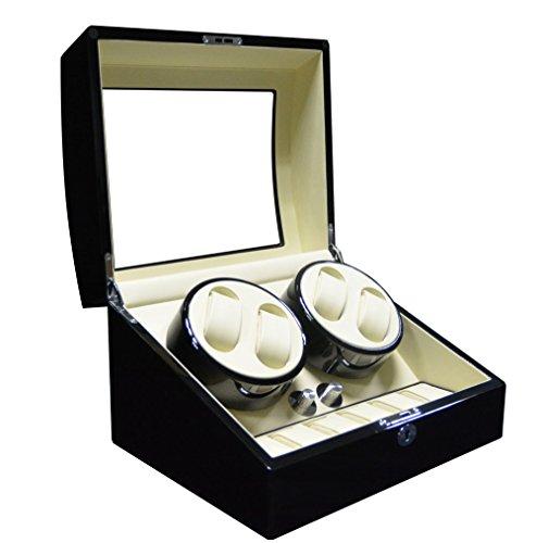 Keedz® Uhrenbeweger Elegance - Stilvoller Uhrenbeweger für 4 Automatikuhren mit Uhrenaufbewahrung für 6 Uhren in Klavierlack Schwarz und weißem Interieur mit 5 unterschiedlichen Programmen