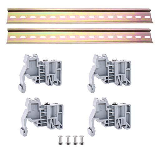 WJUAN 2 Stück 300 mm Long DIN-Schiene Farbe Stahl DIN Schiene, 4 Stück Fixed Seats und 4 Pairs of Screws für Verteilerschrank Schaltschrank Einbau