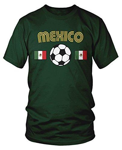 Amdesco Men's Mexico Soccer, Love Mexican Futbol Football T-Shirt, Forest Green Medium