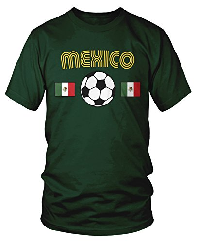 Amdesco Men's Mexico Soccer, Love Mexican Futbol Football T-Shirt, Forest Green Large