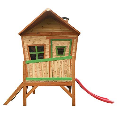 AXI Iris Maison Enfant avec Toboggan rouge | Aire de Jeux pour l'extérieur en marron & vert | Maisonnette / Cabane de Jeu en Bois FSC