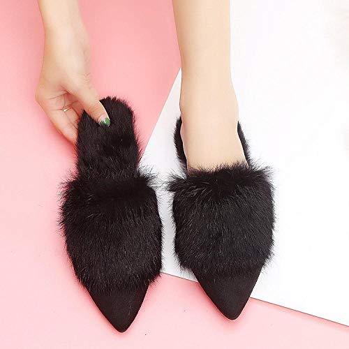 SWX-FlipFlop Zapatillas otoño e Invierno Zapatillas de Color Liso Zapatos de algodón Zapatillas Planas de algodón Negro 39