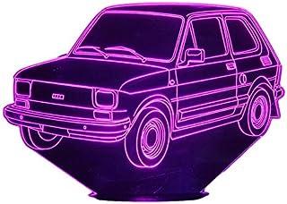 FIAT 126, Lampada illusione 3D con LED - 7 colori.