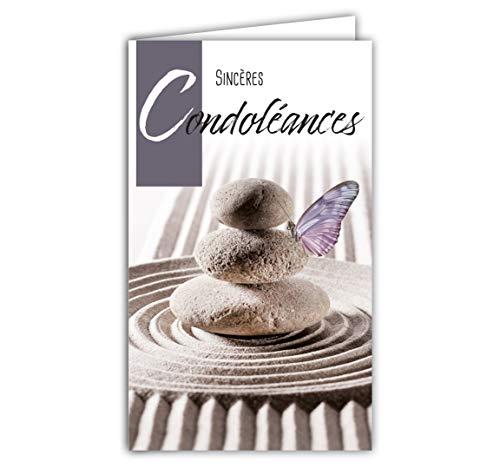 Afie 24-1028 Carte Sincères Condoléances format fermé 95x160mm avec enveloppe blanche - Papillon Cairn Montjoie Galets empilés Pierres Sable Jardin Zen Repos âme