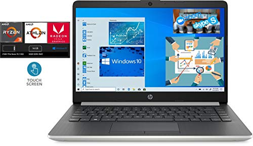 """2020 HP 14"""" Micro-Edge WLED Backlit Touchscreen Business and Home Laptop Computer AMD Ryzen 3 3200U 3.5GHz 16GB DDR4 RAM 256GB PCIe NVMe M.2 SSD Bluetooth HDMI HD Webcam WiFi Windows 10 Home S Silver"""