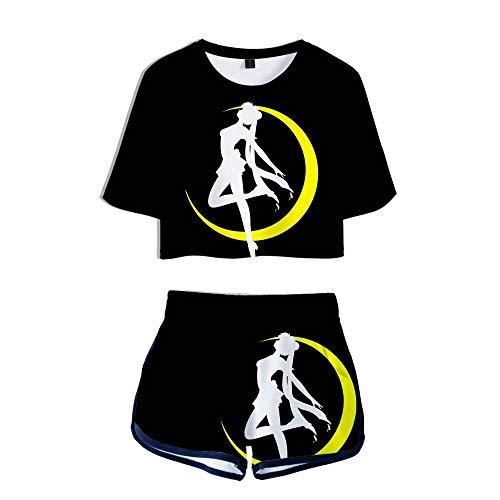 Mädchen Damen T-Shirt Und Shorts Sailor Moon Anime Sport Sets 3D-Digitaldruck Sommer Mode Kurze Sportswear M