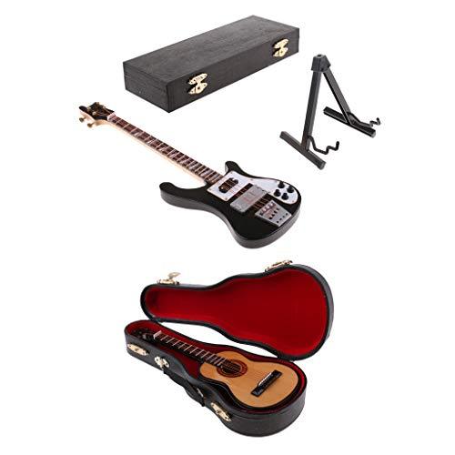 perfeclan 1/6 Modelo de Bajo de Guitarra de Madera en Miniatura Muebles de Bricolaje para Phicen Kumik de 12 Pulgadas