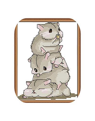 Kits divertidos de punto de cruz |Kit de punto de cruz Five Little Hamsters 14ct 11ct Count Print Canvas Stitches Bordado DIY Handmade Needlework-18ct Unprint Canvas-Cotton Thread ✅