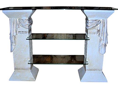 Antikes Wohndesign TV Rack Regal Fernsehschrank TV Schrank Glasregal Phonoregal HiFi Rack Vitrine Bücherregal Weiß - Matt - Gold Griechische Möbel Höhe: 80cm