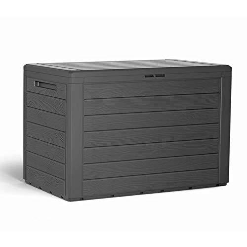 Mojawo Kunststoff Auflagenbox Kissenbox Gartenbox Holz-Optik für Polsterauflagen Kunststoff wasserdicht Anthrazit 190Liter