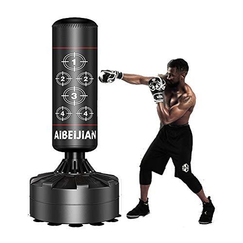 170cm Boxsack Stehend für Erwachsene & Jugendliche Kinder, Boxsack Ständer Freistehender Standboxsack für Kampfkunst Taekwondo MMA Boxen Sport Boxpartner Boxsack Sandsack Boxing Bag