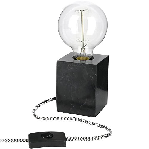 Neoly 37-2L-018 Lampe Cube Carrare Façon marbre noir Ampoule à filament incluse Fil gainé tissu H21 x 8 x 8 cm