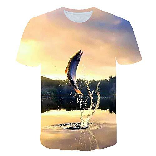 Ocean 3D Fish Print Camiseta De Cuello Redondo De Manga Corta para Hombre Top Informal
