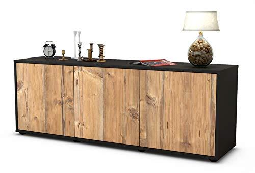 Stil.Zeit Möbel TV Schrank Lowboard Allegra, Korpus in anthrazit matt/Front im Holz Design Pinie (135x49x35cm), mit Push to Open Technik, Made in Germany