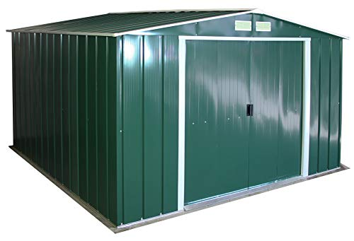 Duramax ECO 10' x 10' Hot-Dipped Galvanized Metal Garden Shed - Green with Off-White Trimmings - 15 Years Warranty