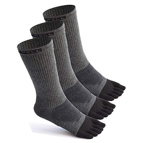 Toe Socks Cotton Running Athletic Socks Midweight Crew Five Finger Socks 3 Pairs,Size 7-11