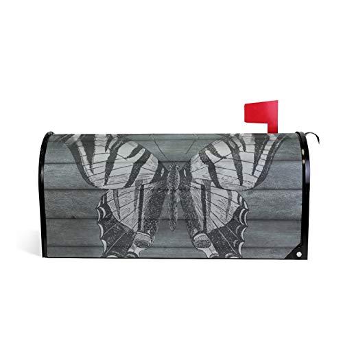 Madera mariposa madera listones negro magnético buzón cubierta jardín decoración del hogar gran tamaño 25.5 x 18 pulgadas