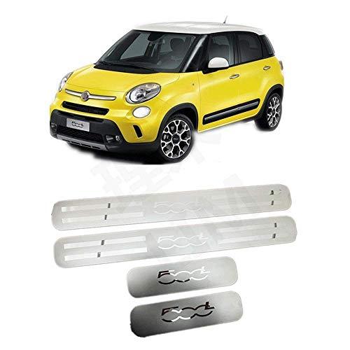 N/A 4 Pezzi Soglia Porta Battitacco, per Fiat 500L 2014-2020 Auto Pedale Calci Scuff Benvenuto Threshold Bar Striscia Protezione Accessori Decorativi, Acciaio Inossidabile