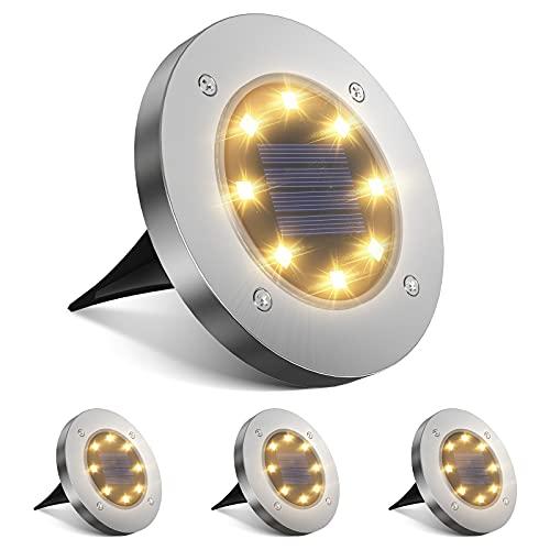 Solar Bodenleuchte Aussen 4 Stück meTweal Solar Bodenleuchten Wegeleuchten 8 LED mit Bewegungsmelder IP65 Wasserdicht für Garten Deko Beleuchtung Terrasse Balkongelaender Schwimmbad -Warmweiß