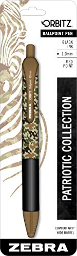 Zebra Orbitz Retractable Ballpoint Pen, Medium Point, 1.0mm, Black Ink, Camo Print, 1-Count