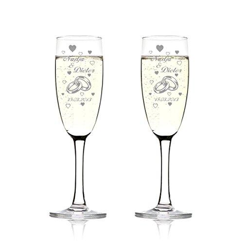 polar-effekt 2er Set Sektgläser Personalisiert mit Gravur - Hochzeitsgeschenke für Brautpaare - Namen und Datum - Geschenkidee zur Hochzeit - Hochzeitsgläser für Paare - Zwei Ringe mit vielen Herzen