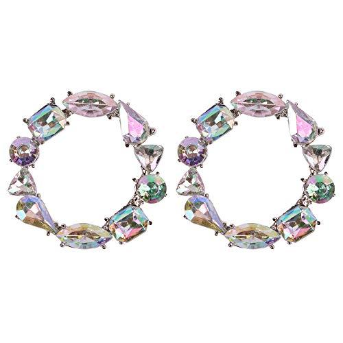 YAZILIND moda simple aleación pendientes aro aretes círculo pendientes joyas para mujeres chica Mulitcolor1 Mulitcolor1