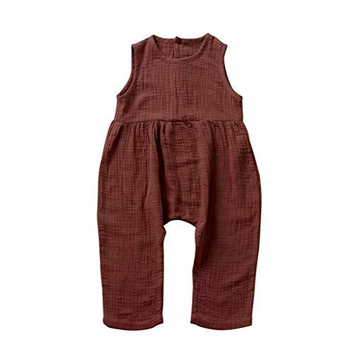 LEXUPE Kleinkind Baby Kinder Mädchen Mädchen Solid Jumpsuit Sommerkleidung(A-Wein,110)